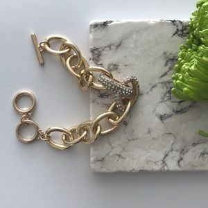 Gold and Pave Chain Bracelet